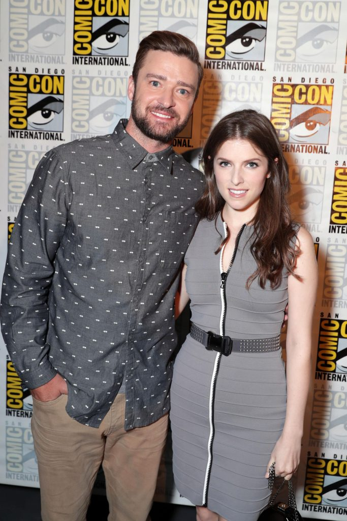 TROLLS voice actors Justin Timberlake and Anna Kendrick backstage at DreamWorks Animation's Comic Con Hall H Panel.