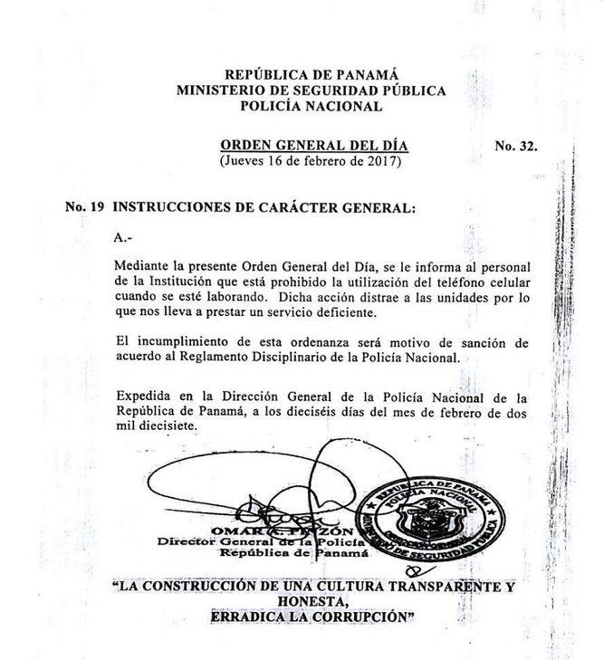 Orden emitida por Omar Pinzón, director de la Policía Nacional.